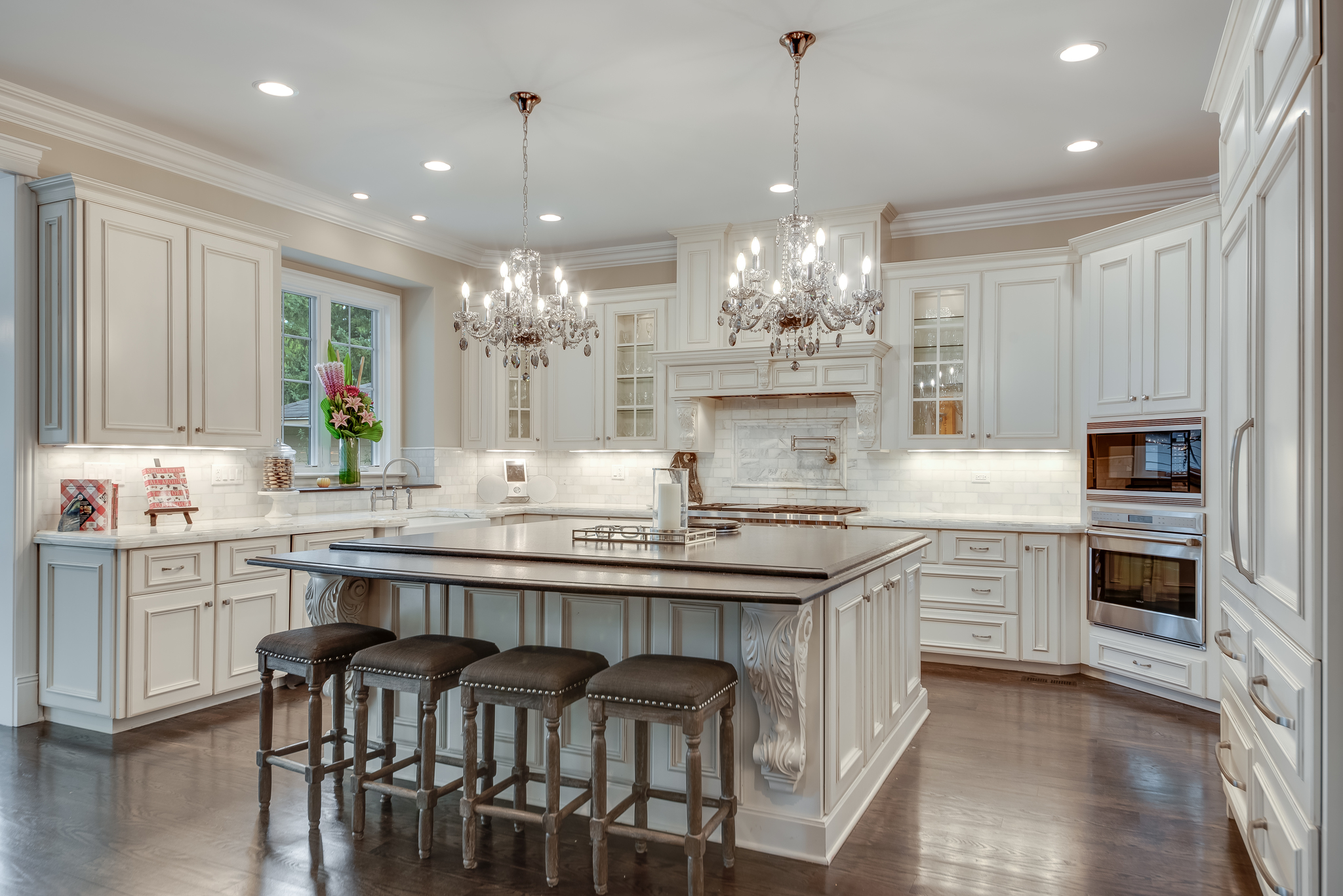 Traditional Kitchen with Custom White Cabinets